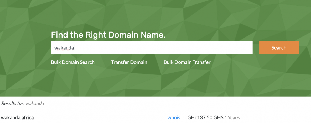 Buy Domain in Ghana with Mobile Money